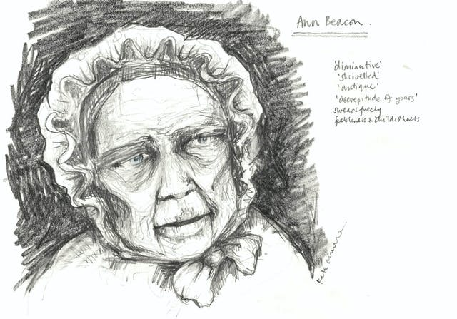 Black and white illustration of a woman, showing the face only.