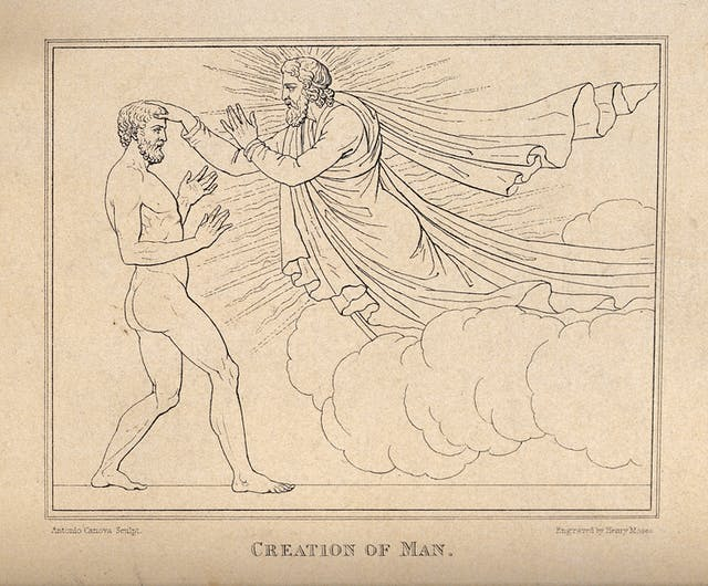 Black and white etching of God touching Adam on the head.