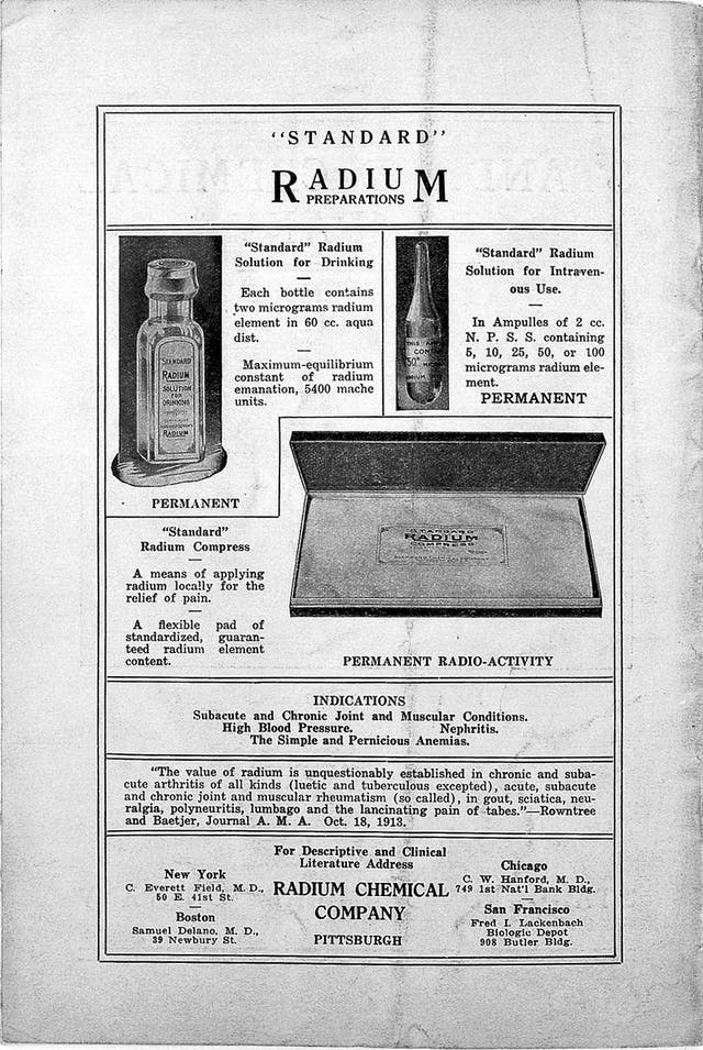Black and white advert for Radium featuring three images of bottles and boxes of dense text.