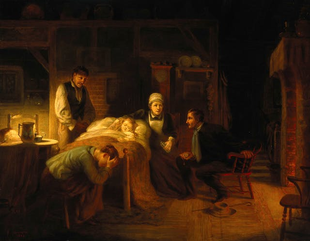 Oil paining showing a child in a bed with a woman in nurse uniform and a standing man in servant