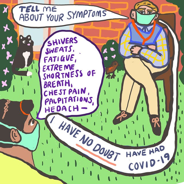Webcomic showing two people sat in an outdoor area wearing face masks. Thee is a black cat drawn in the background next to a green bush with pink flowers. Speech bubbles in the comic detail a conversation about what symptoms one of the individuals is experiencing, with the other confirming with no doubt that the individual has had COVID-19.
