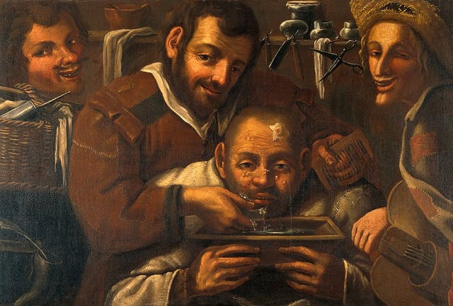 Painting of three smiling men and one bent over, all facing the viewer. The hunched man has boils on his face and is crying into a tray.