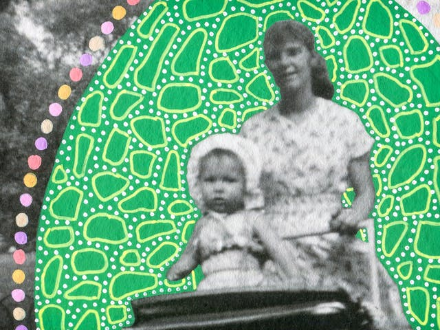 Artwork created by painting over the surface of a black and white photographic print with colourful paint. The artwork shows the original scene of a young woman walking through a parkland scene pushing a pram. Sitting up inside the pram is a young toddler facing forwards. The woman, toddler and pram are surrounded by a large oval shape painted green, which is covered in small lighter green dots and many organic shaped circular light green outlines. Around the edge of the oval shape are a line of coloured painted spots, of yellow, pink and purple. The texture of the paint can be seen on the surface of the print.