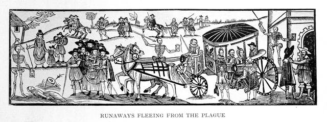 A woodcut showing people fleeing the plague