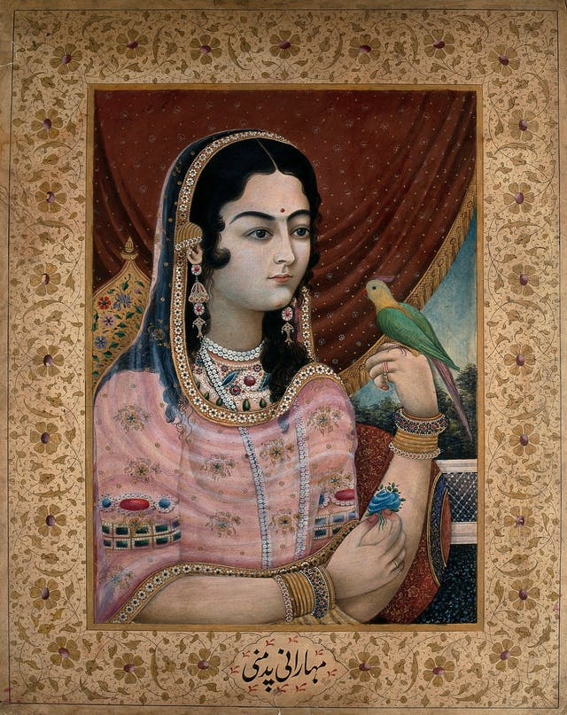Colourful illustration of a Mughal courtesan or member of a Mughal royal family looking at a parrot perched on her hand.