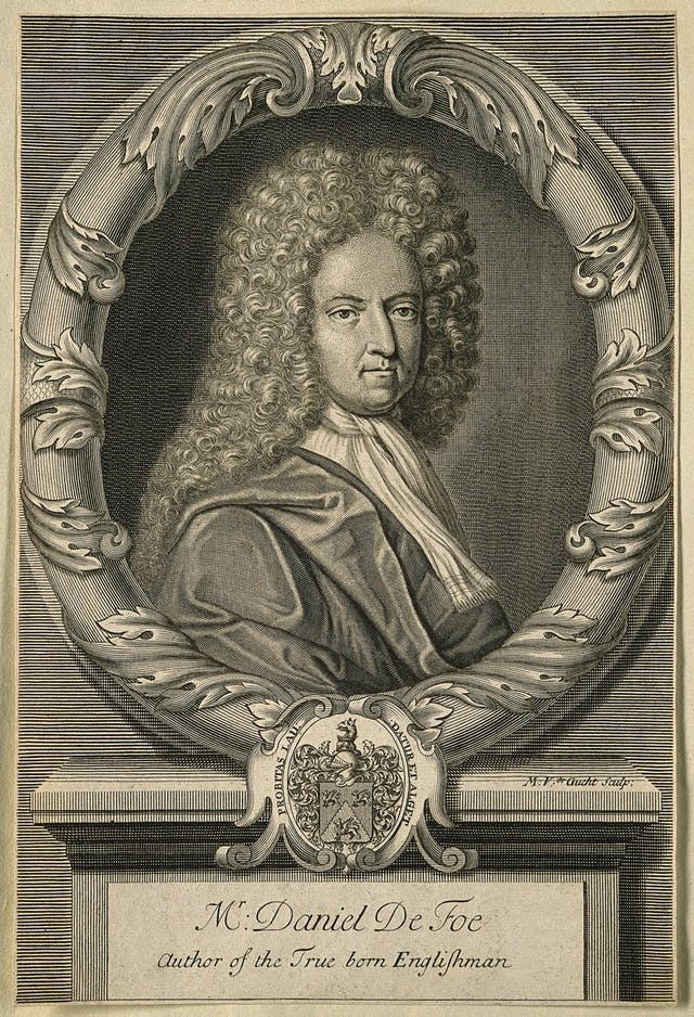 Black and white engraved image of man wearing a curly wig and bordered by a round ornamental frame