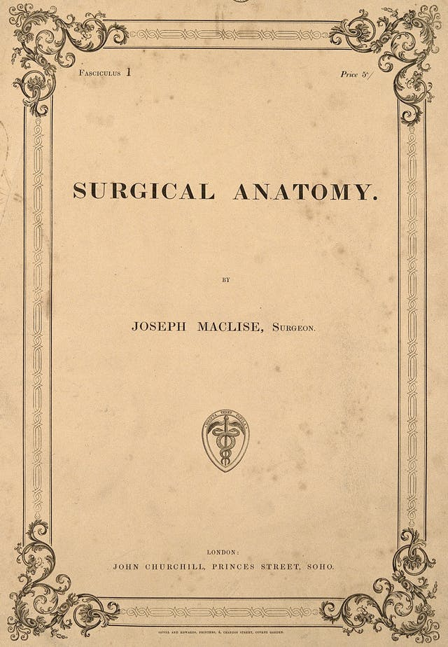 Title page of Surgical Anatomy by Joseph Maclise