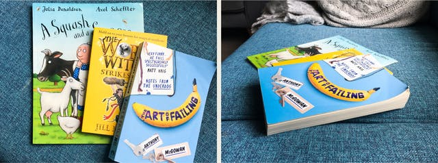 Photographic diptych. The image on the left shows a blue fabric sofa cushion on which are placed three books in a fanned stack, each slightly overlapping the one below. The book on the top to the right of the image has a banana on the cover and the title,