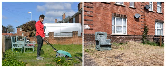 A photographic diptych. The image on the left shows a young man with shaved hair at the sides wearing wireless ear pods, a red tracksuit top and black tracksuit bottoms, standing side on, holding a lawnmower. He faces the camera in the front garden of a red brick house in a residential area. The image on the right shows the front garden of a red brick house with white PVC windows, a satellite and 104 painted in large white digits. The garden in front of the house has dry yellow grass and a light green velvet high back armchair with a floral pattern.