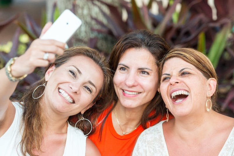 Women taking a selfie