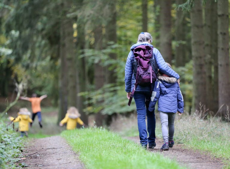 A woman and child walk through a forest path, while three other children run ahead.
