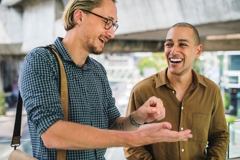 Two men chatting