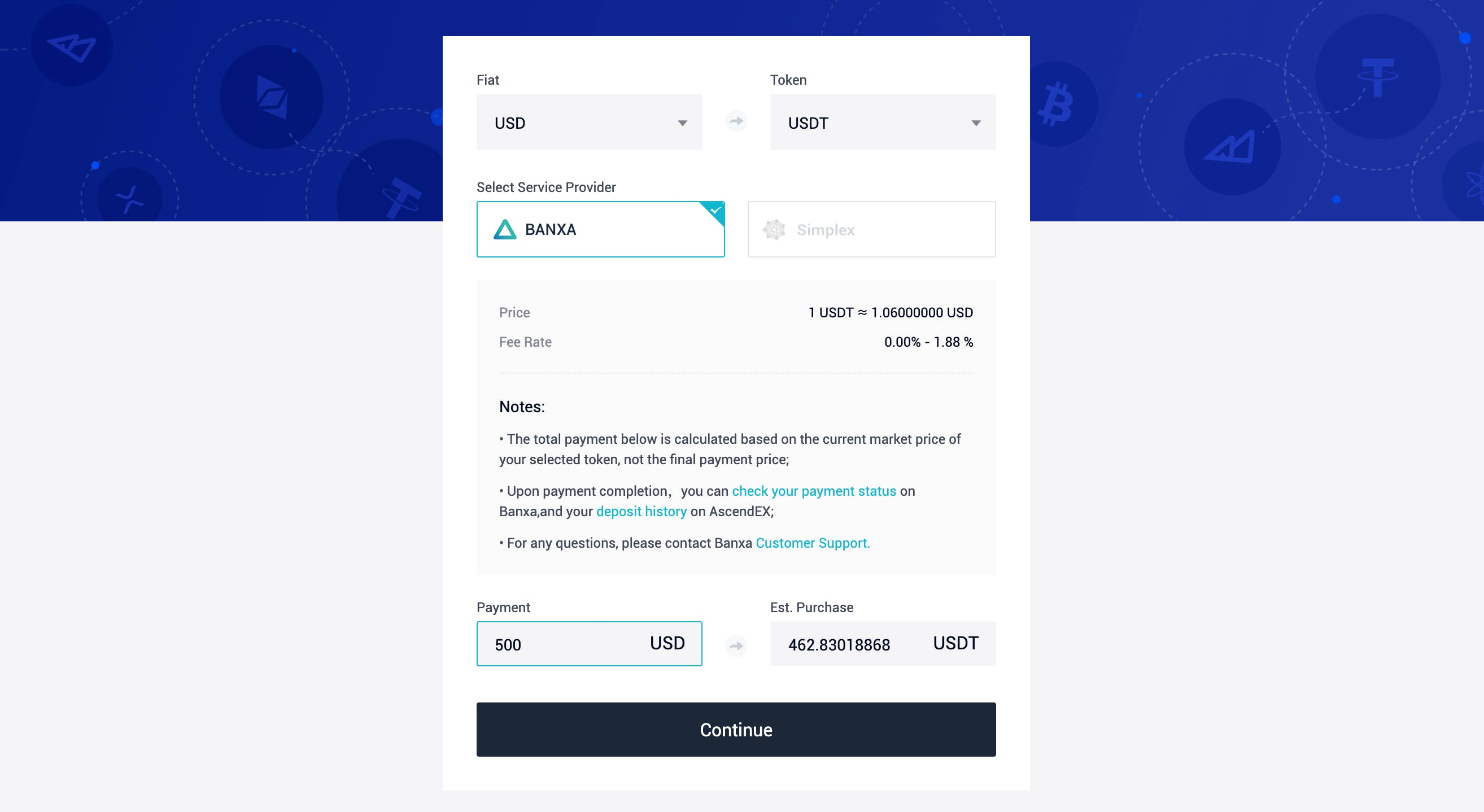 Buy USDT with credit card on AscendEX