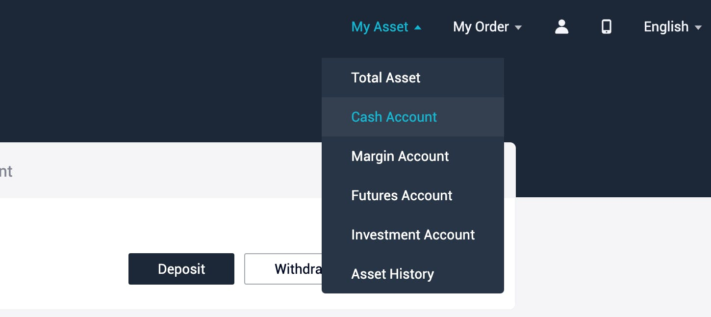 How to get to cash account in AscendEX?