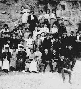 Visitors at the Widow Jane Mine in the early 1900s.