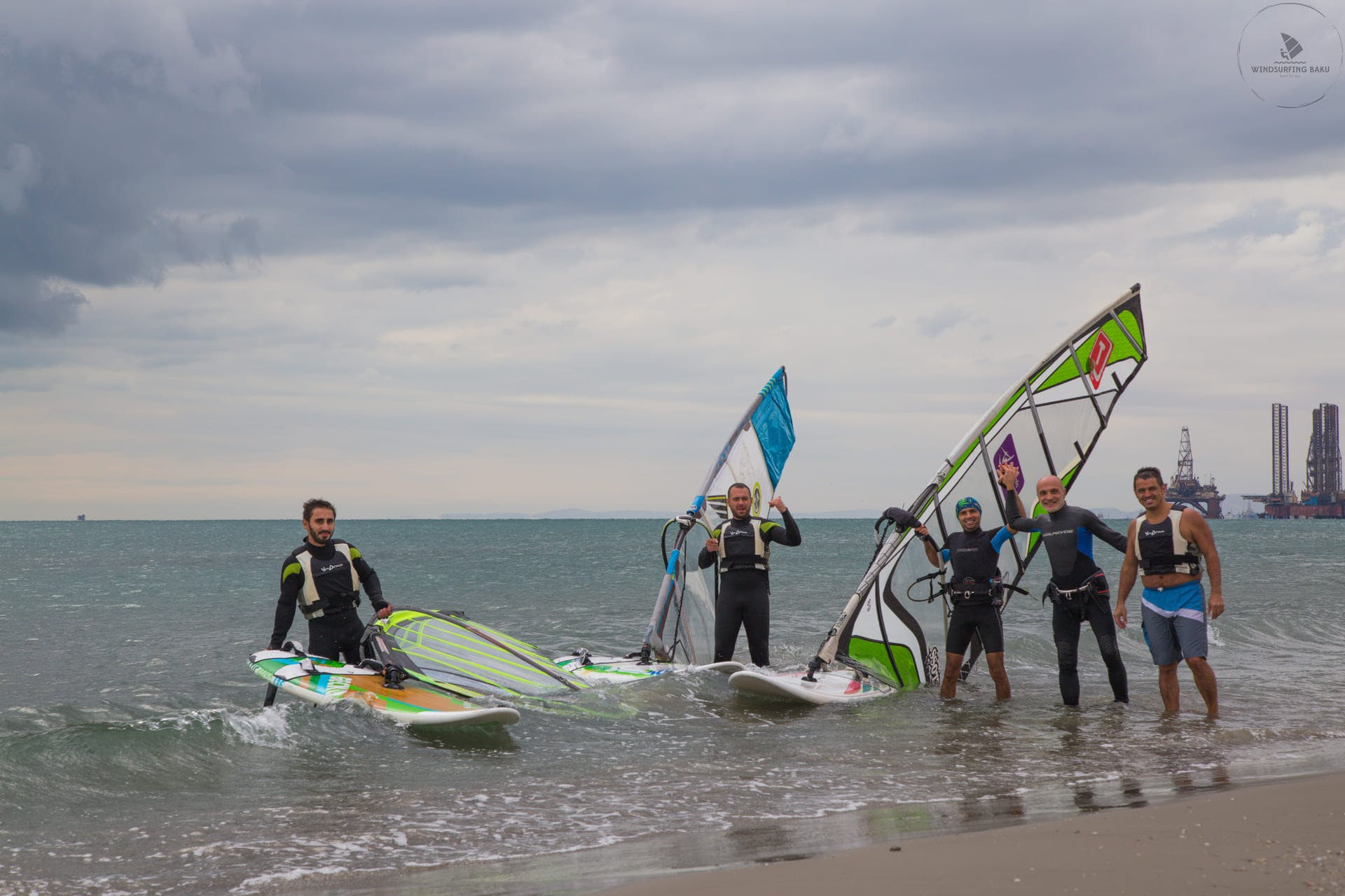 Windsurfing group of professional surfers