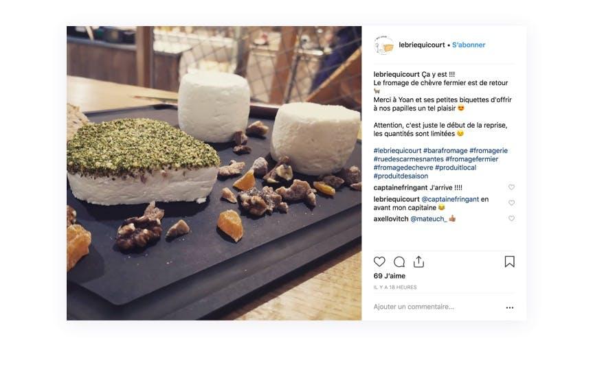 Mise en avant d'un produit tout juste réapprovisionné grâce à Instagram