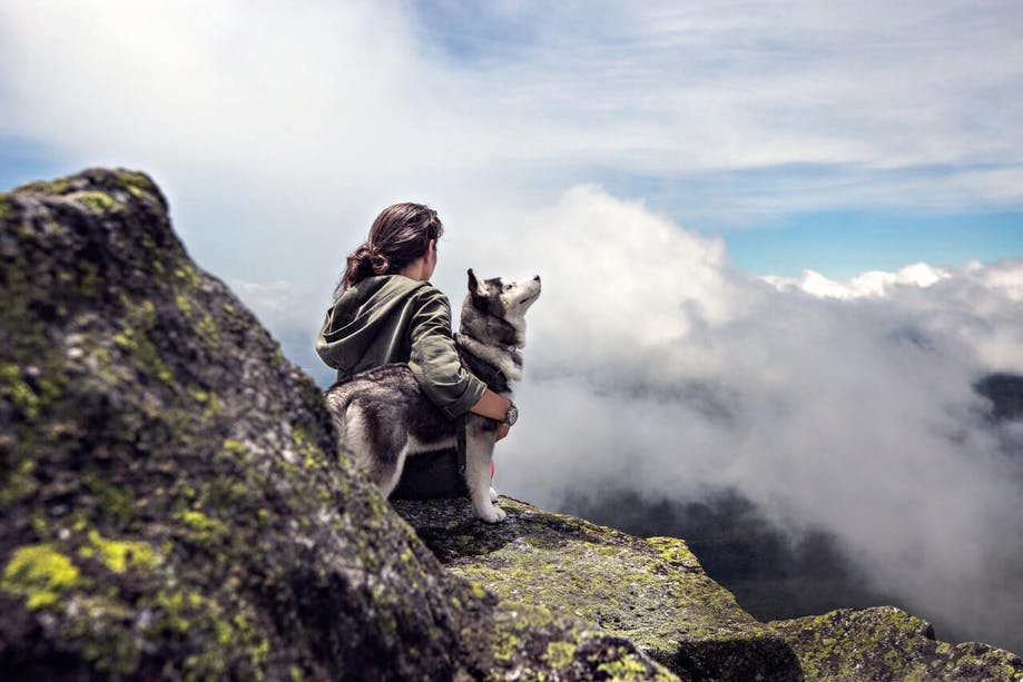 Woman sitting on a mountain top with her Husky pup