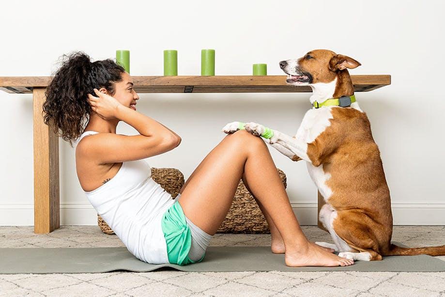 Dog helping woman do sit ups
