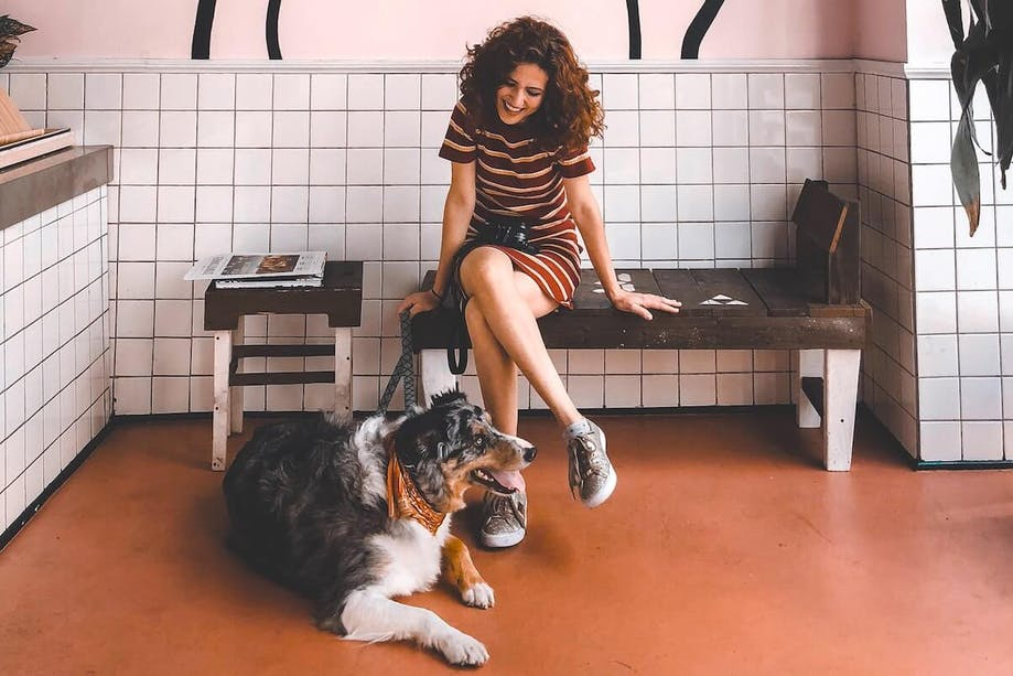 Woman adopting a shelter dog