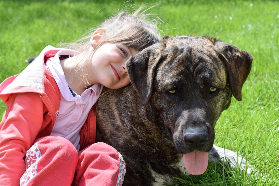 Young girl hugging her dog outside