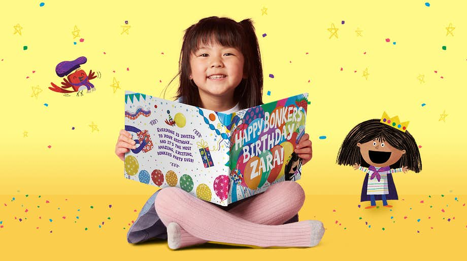 Little girl reading Happy Bonkers Birthday