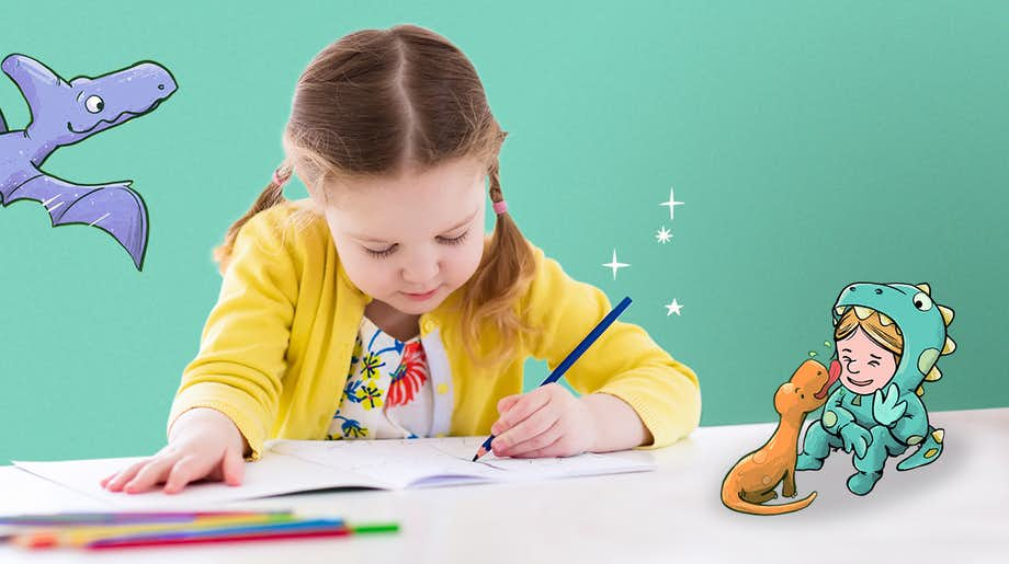 Little girl using the Wonderbly Coloring Book