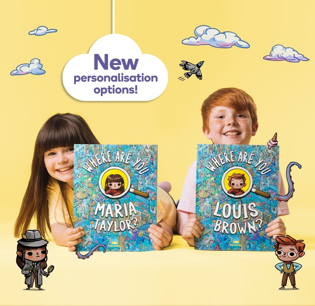 2 children holding their personalised version of Where Are You