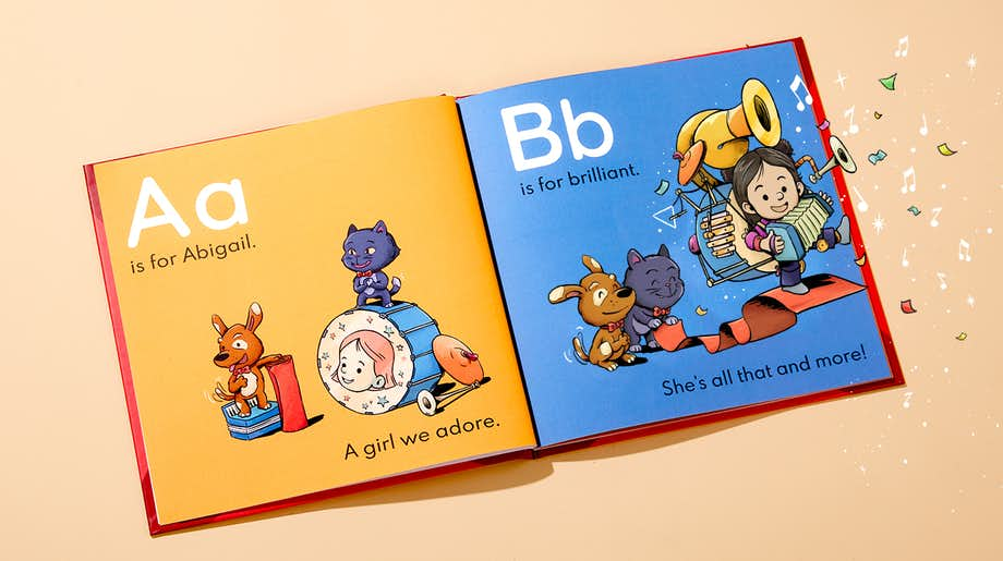 Inside spread of letters A and B showing personalized character and name
