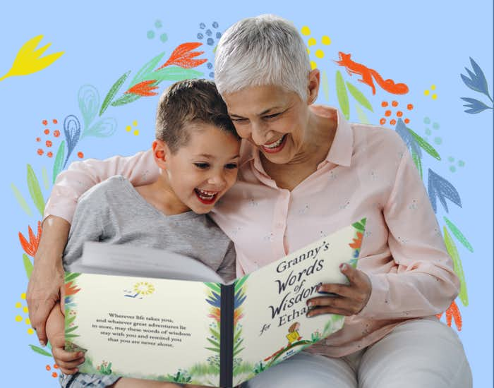 Grandparent and child reading together