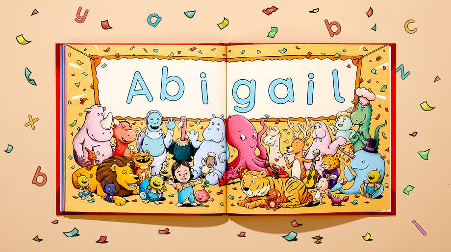 Spread showing all the alphabet creating your child's name