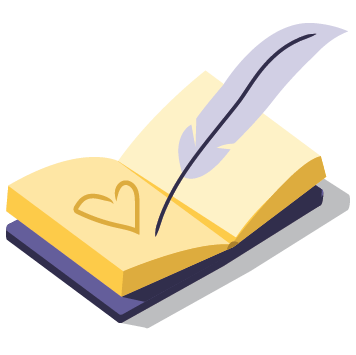 "Icon ""free dedication"" - illustration of book being written in with feather pen  Value icon"