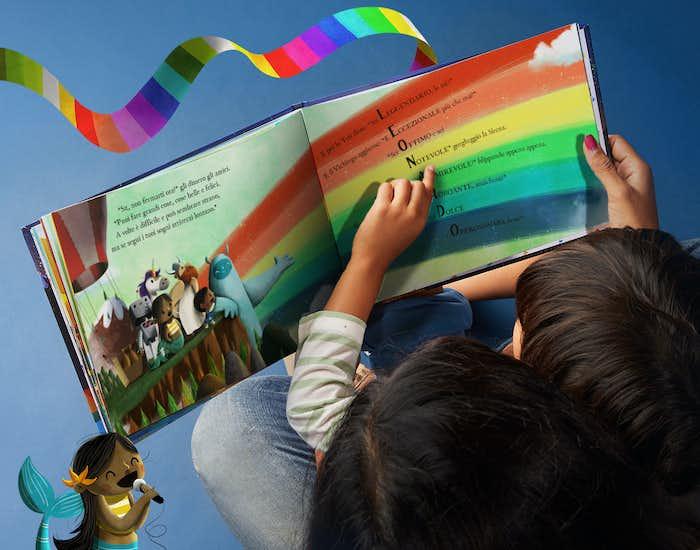 Dettagli personalizzati su una pagina di L'arcobaleno dei sogni
