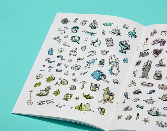 Spread of some of the 148 stickers inside the book