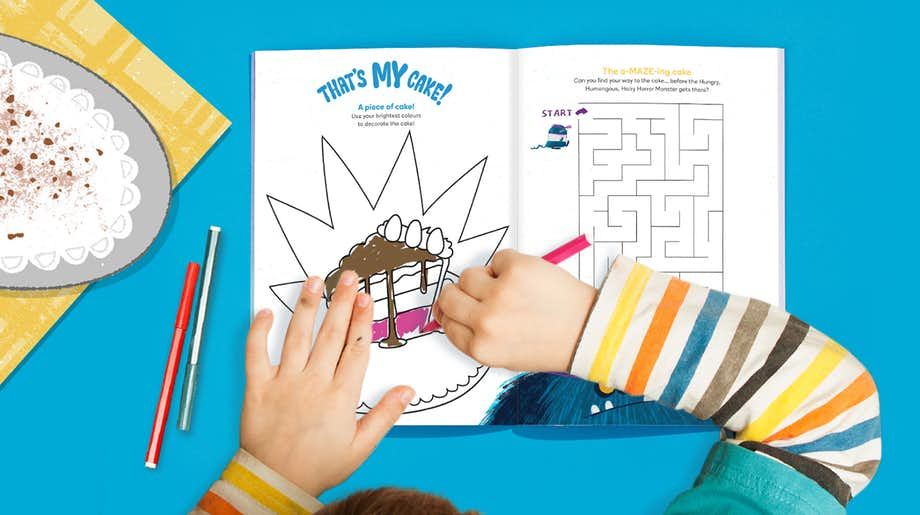 Child using Wonderbly Colouring and Activity Book
