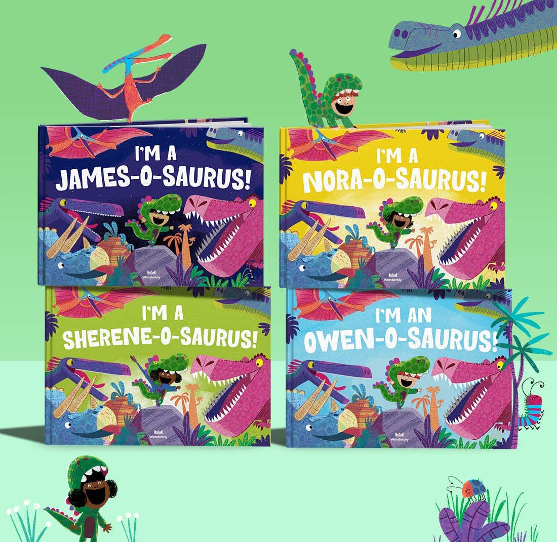 Stack of I'm a Name-O-Saurus books showing the front cover
