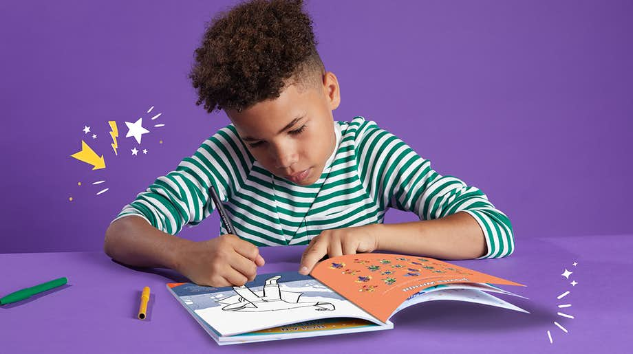 Child using Wonderbly Activity Book