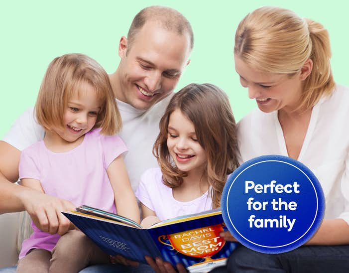 Family reading You Are The Best Mom Ever