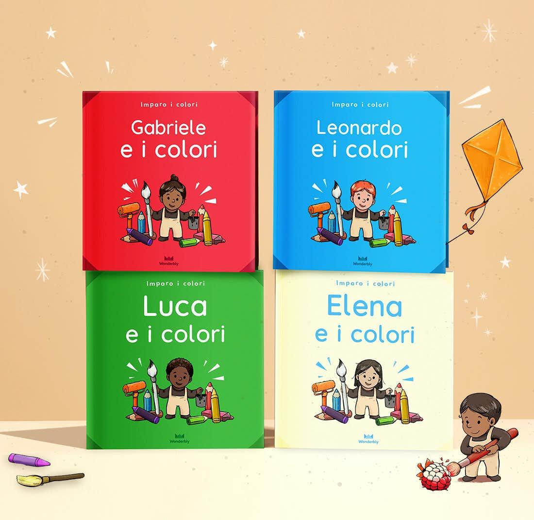Una pila di libri Tu e i colori che mostrano la copertina