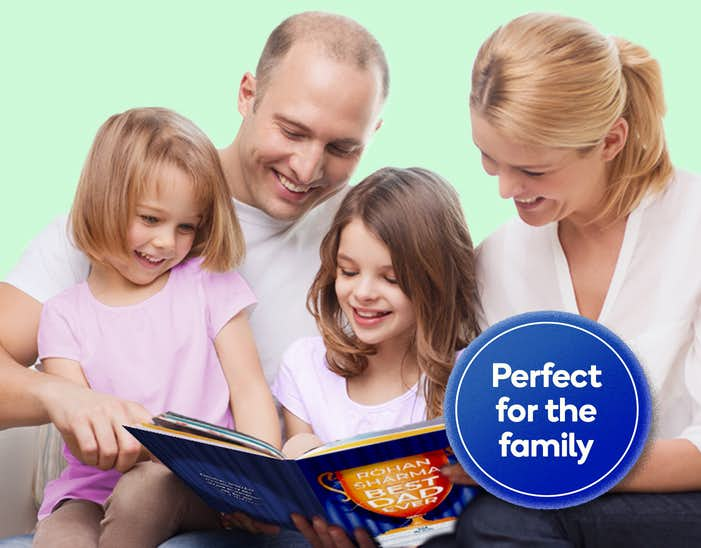 Family reading You Are The Best Dad Ever