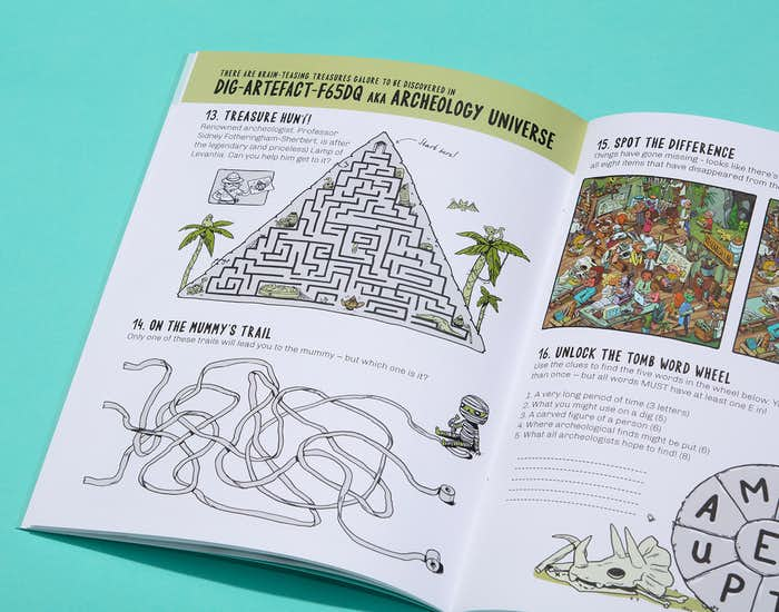 Spread of the book showing a selection of puzzles in the Archeology Universe