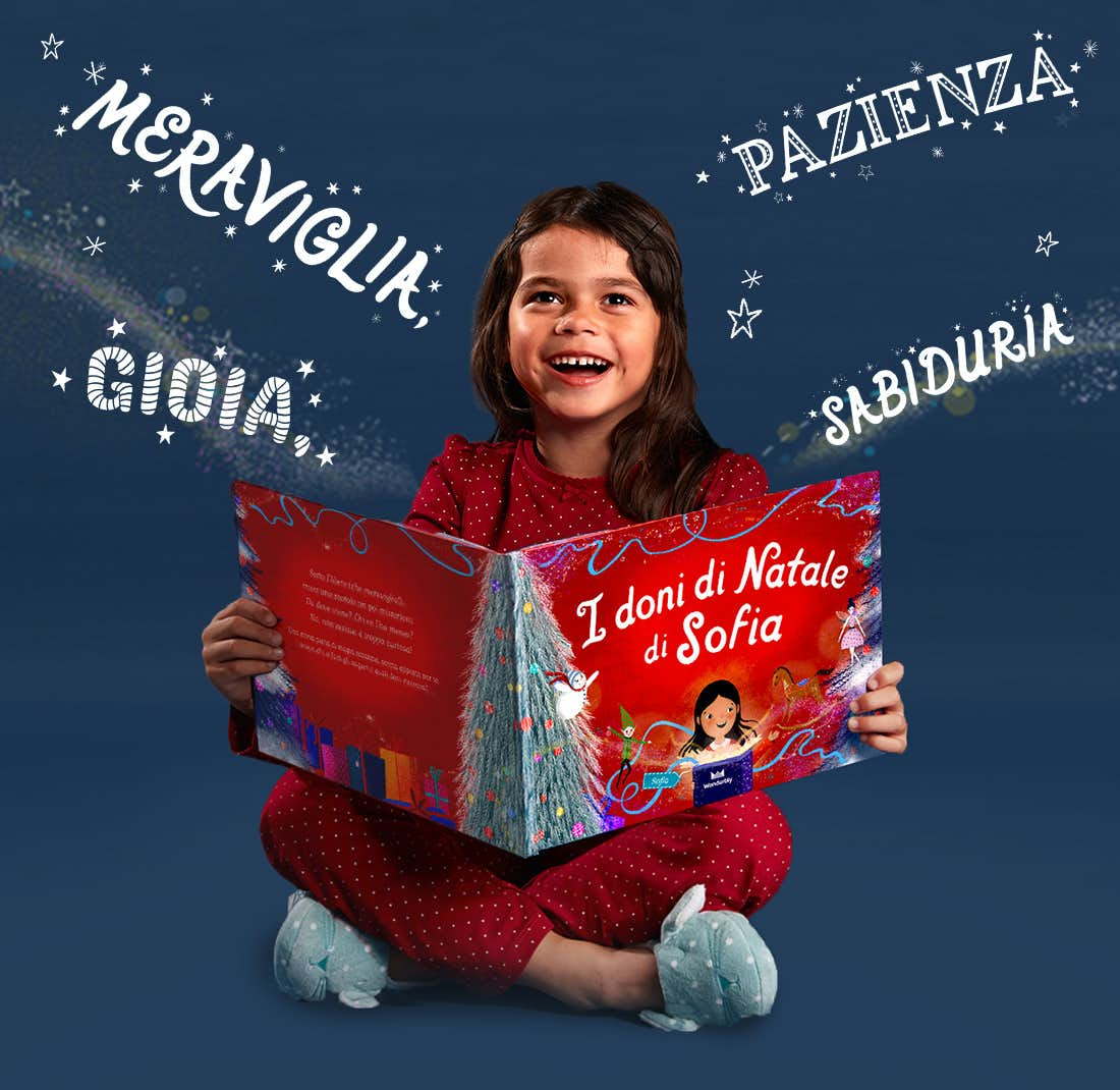 Little girl holding Christmas Wishes For You