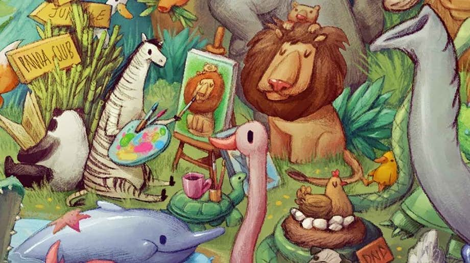 A close up shot of all the animals that feature in the story book