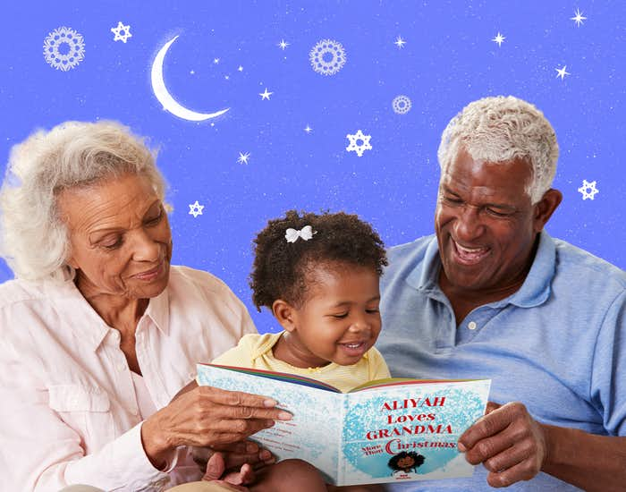 Grandparents and grandchild reading I Love Grandma More Than Christmas