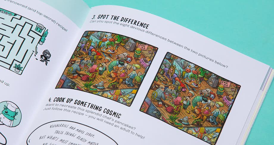 Spread of the book showing a selection of puzzles in the chef universe.