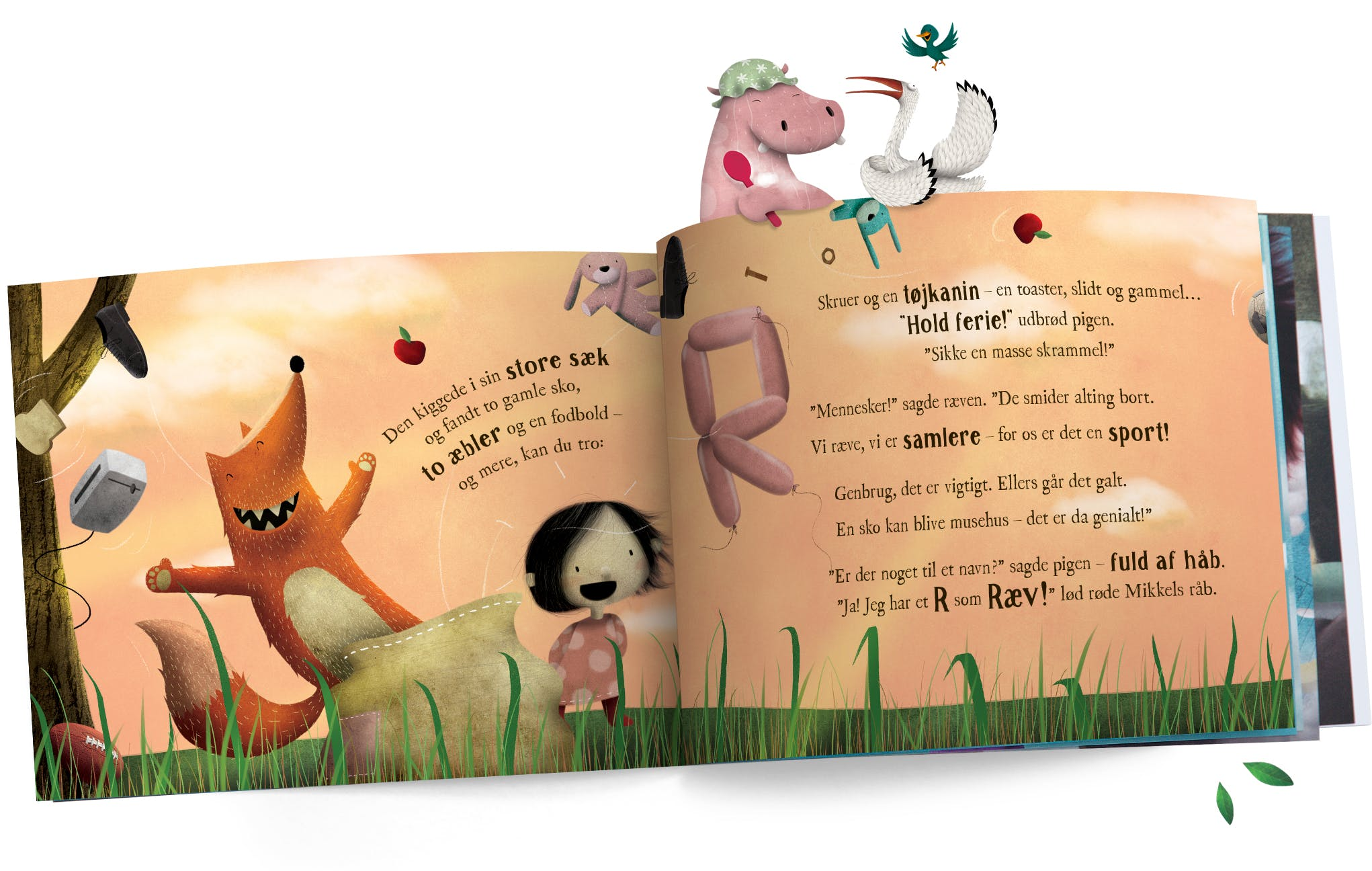 Spread of book with Fox and other characters popping out