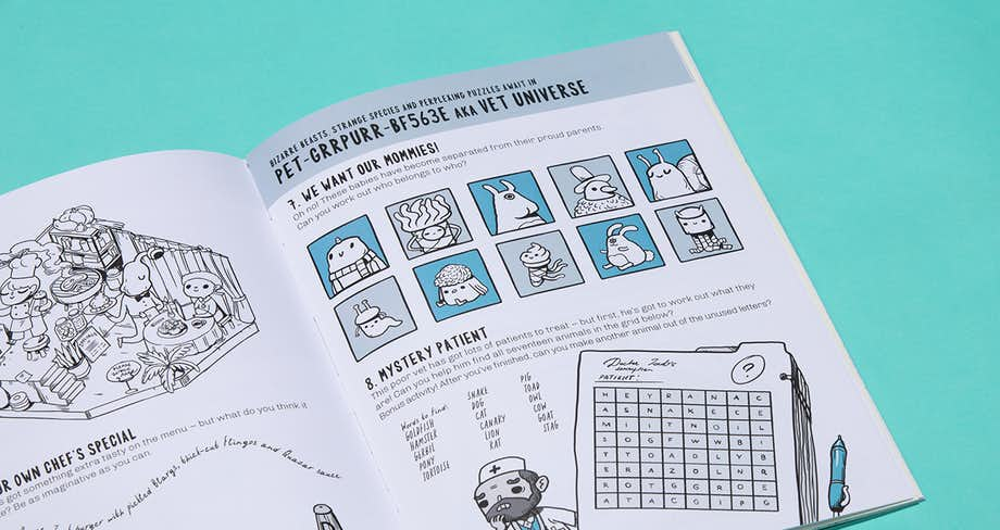 Spread of the book showing a selection of puzzles in the vet universe.