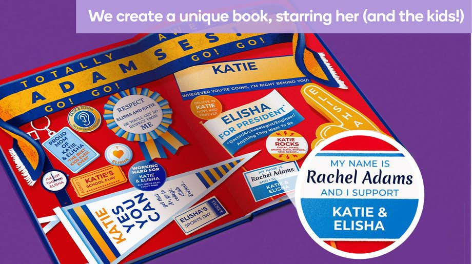We create a unique book, starring her (and the kids)