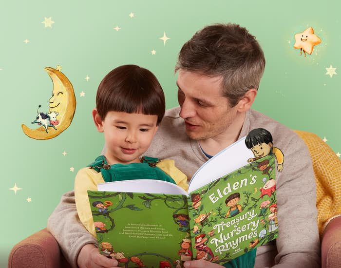 Father and son reading Your Treasury of Nursery Rhymes