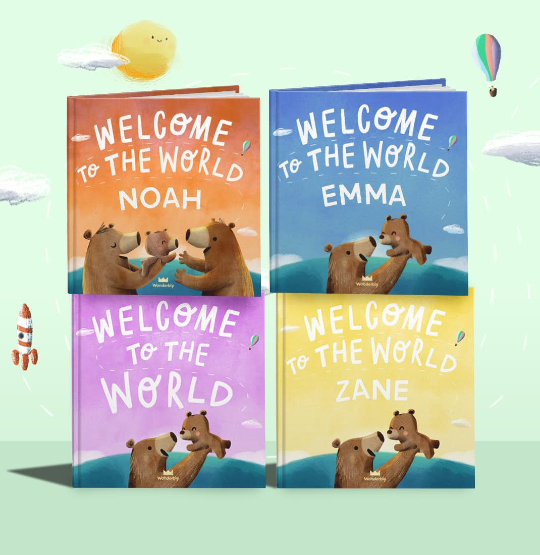 Selection of personalized Welcome To Our World book covers